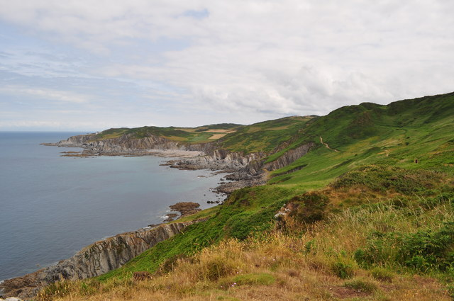 The South West Coast Path winding along hills West of Mortehoe towards Bull Point