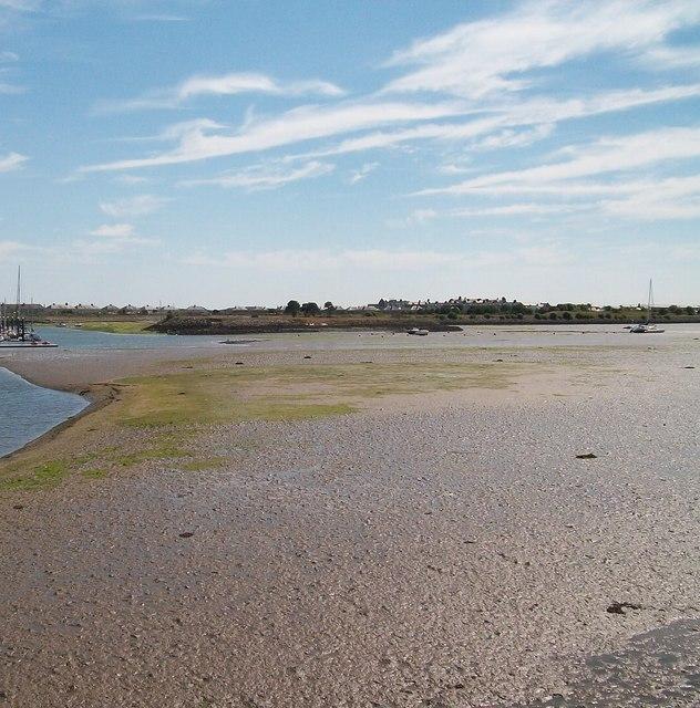 Exposed mud banks at Pwllheli harbour