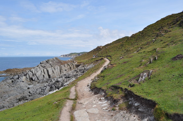 The South West Coast Path as it leaves Morte Point on its way to Bull Point