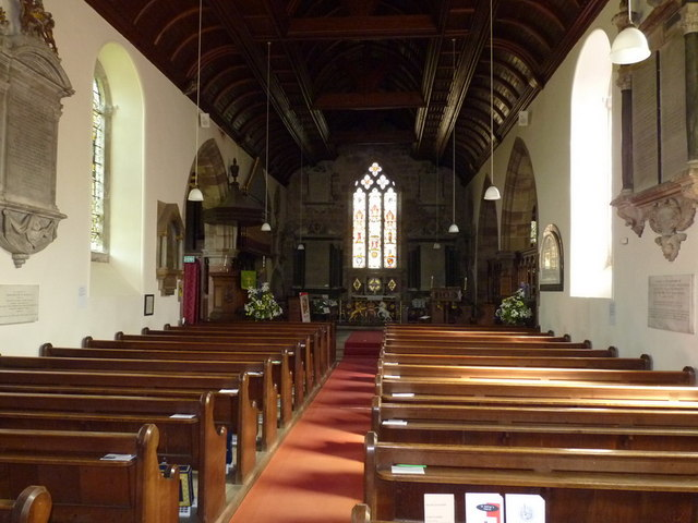 The interior of St Andrew church, Weston under Lizard