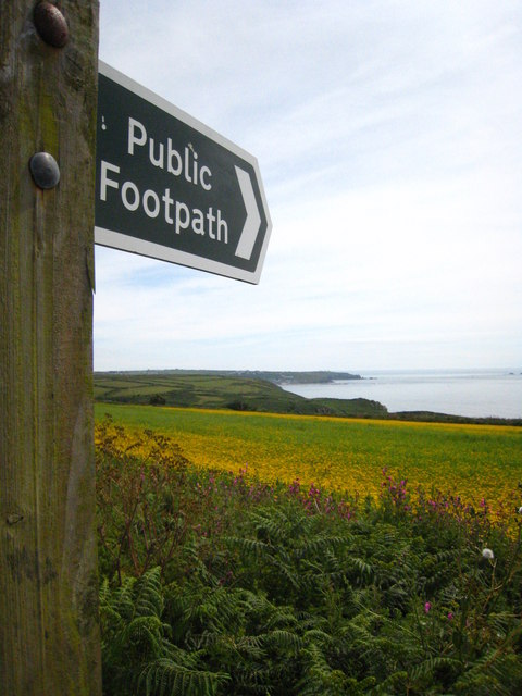 Public footpath sign at Hendra