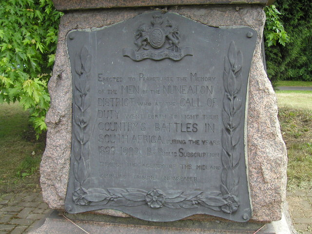Detail of South Africa memorial, Coton Road