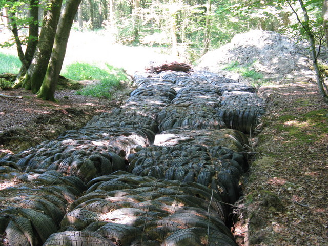 Tyre recycling for boggy track