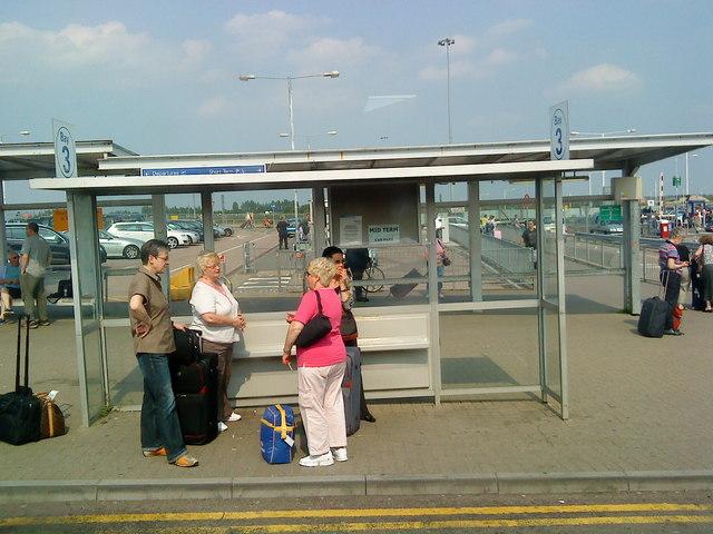 Bus stop at Luton Airport