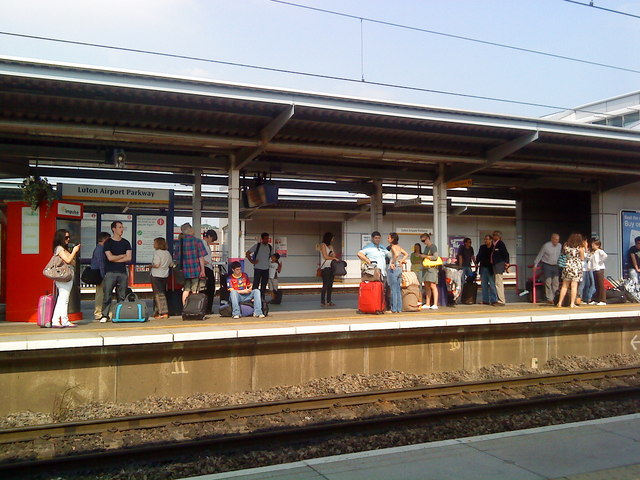 Waiting for the train at Luton Airport Parkway