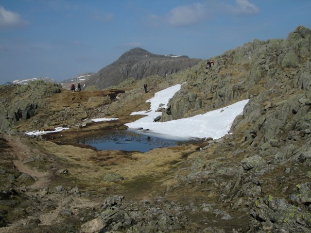 A small tarn on the ridge between Crinkle Crags and Shelter Crags