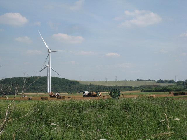 Turf cutting beneath the wind turbines