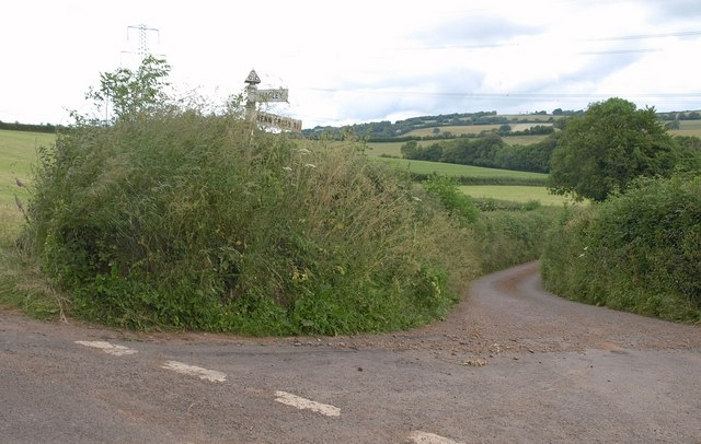 Lane junction below Hagley Plain