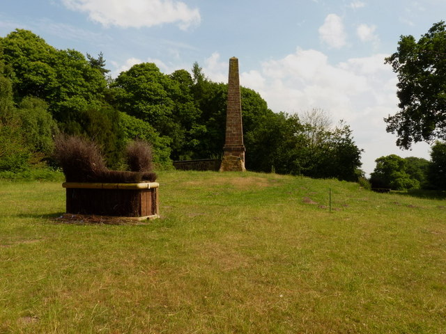 Obelisk and horse trials obstacle in Weston Park