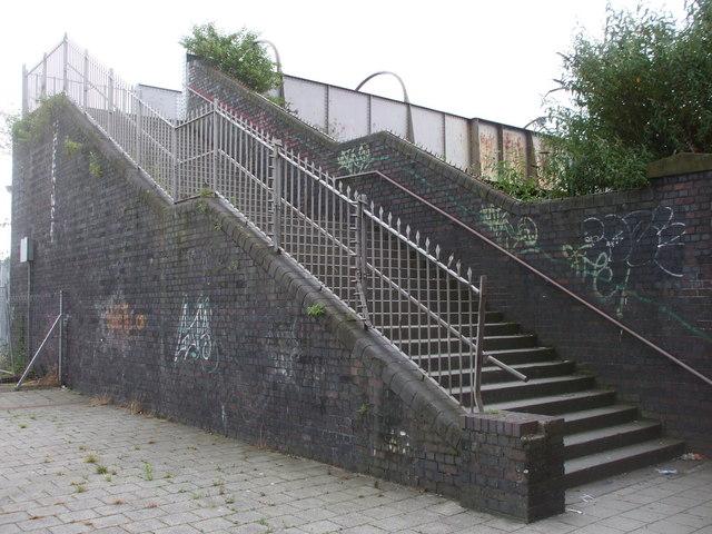 Footbridge over the railway, central Cardiff