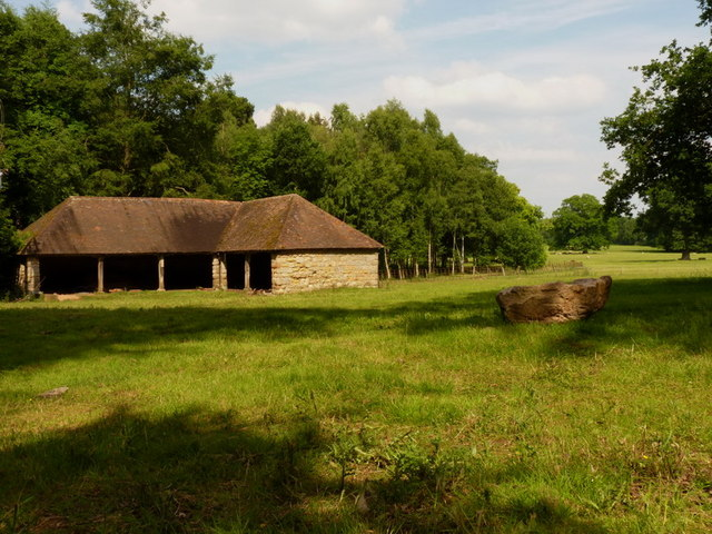 Estate barn on the edge of Cottage Wood, Weston Park