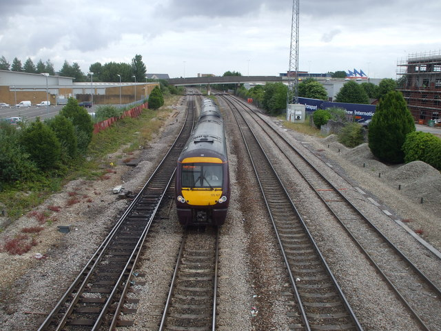 Train approaching Cardiff Central from the east