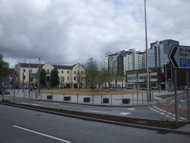 New open space, central Cardiff