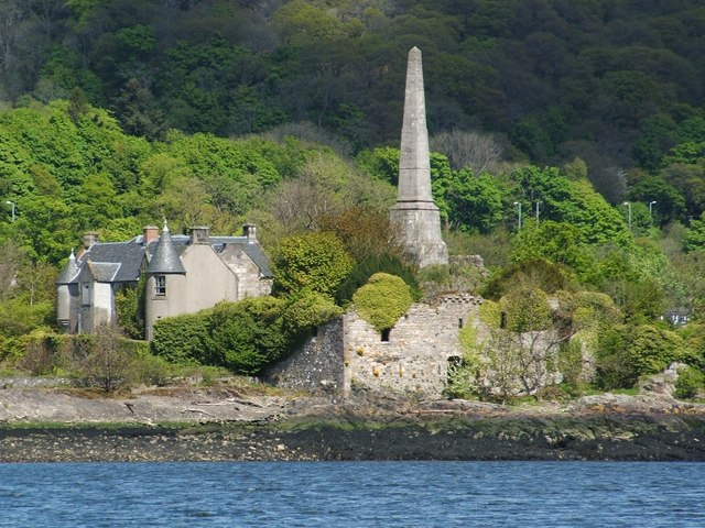 Dunglass Castle and the Henry Bell Monument
