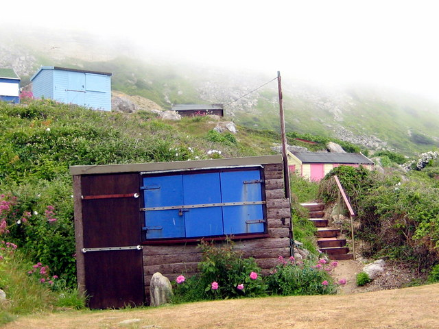 Beach huts and low cloud - Chesil Cove