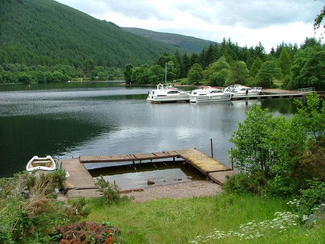 Boats moored on Loch Oich