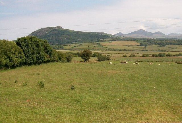View North-eastwards across the Cors Geirch fen towards Carn Boduan and the Eifl Hills