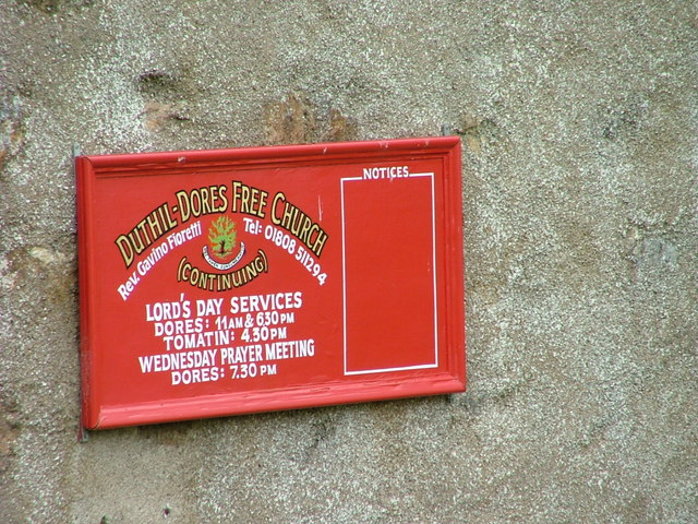 Sign outside Duthil-Dores Free Church