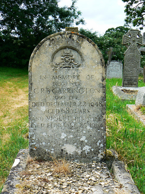 Grave of Brigadier Carrington and wife, Biddestone Cemetery