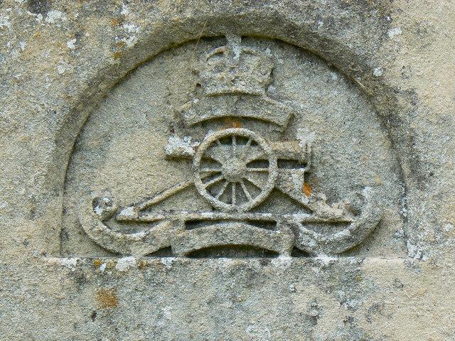 Badge, grave of Brigadier Carrington and wife, Biddestone Cemetery