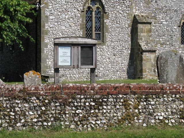 Church noticeboard at St James