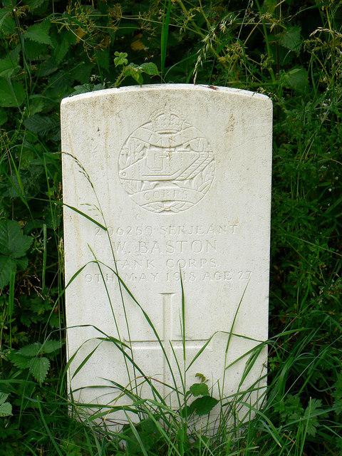 Grave of 206259 Serjeant W Baston, Biddestone Cemetery