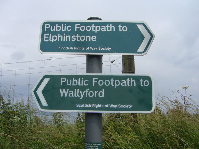 Footpath signs on Falside Hill