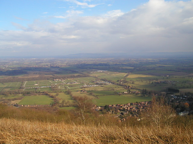 Three Counties Showground seen from the Malvern ridge