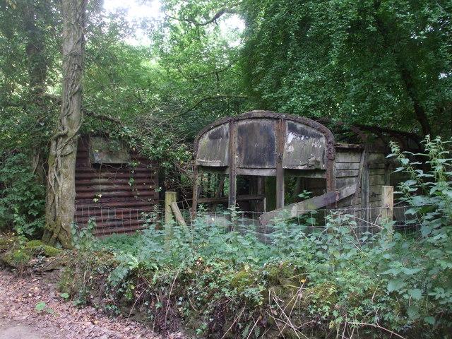 Derelict railway wagons, Cwm Farm, formerly used as farm buildings