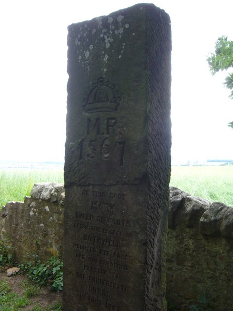 Marker stone at Queen Mary's Mount on Carberry Hill