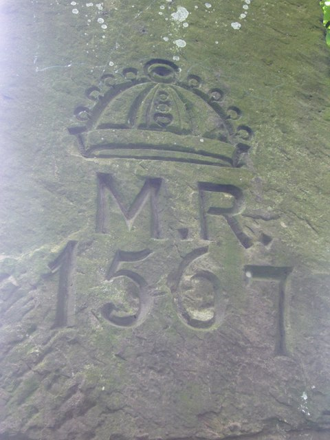 Marker stone carvings at Queen Mary's Mount