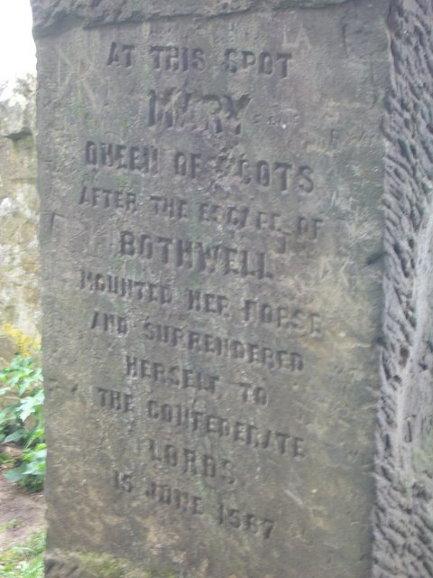Inscription at Queen Mary's Mount on Carberry Hill