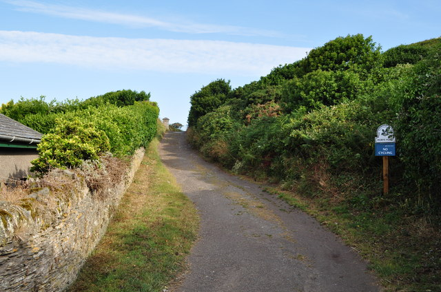 A footpath by the cemetery which leads onto National Trust property