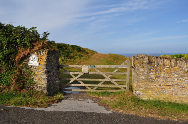 A gate which leads to National Trust Property on Morte Point