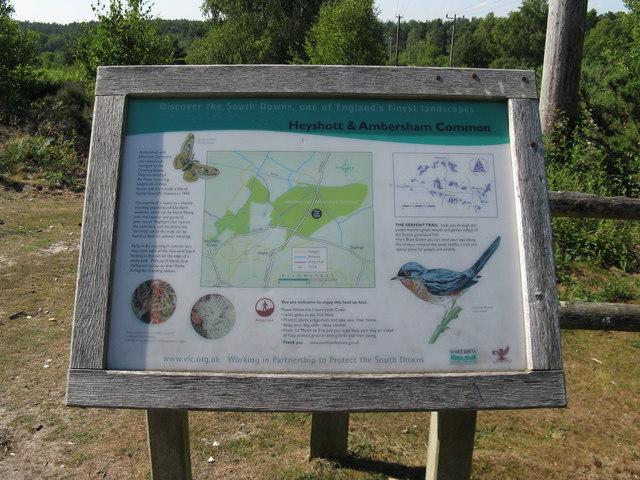 Information board in car park on Heyshott Common