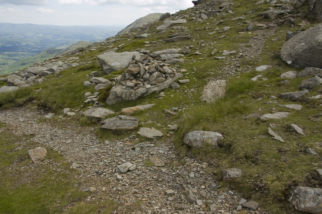 Path junction and cairn Little Carrs