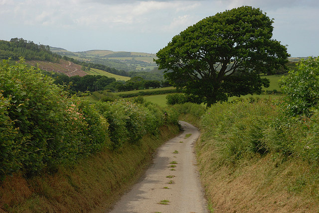 Minor road descending towards Llanilar