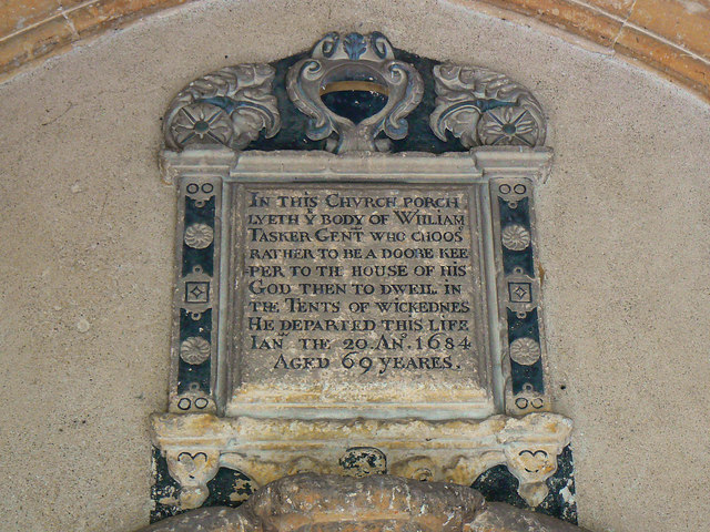 Plaque in the south porch, St Bartholomew's Church, Corsham