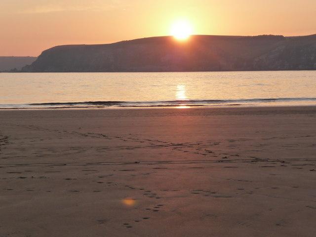 Empty beach at sunset, Bigbury on Sea