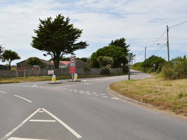 Mortehoe Station Road heading away from the B3343