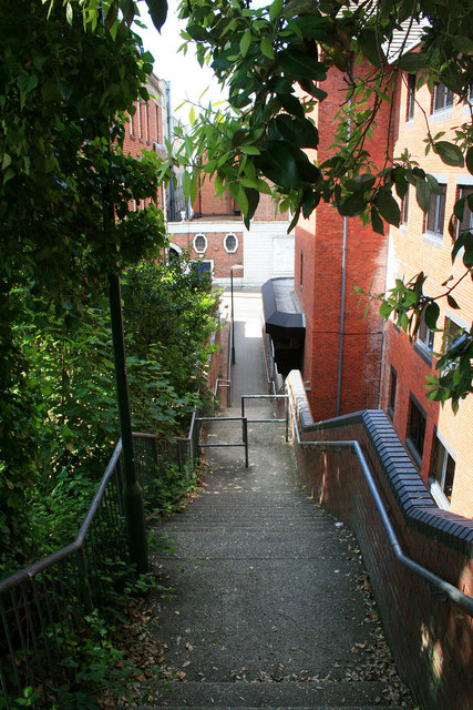 Steps down to Hinton Road
