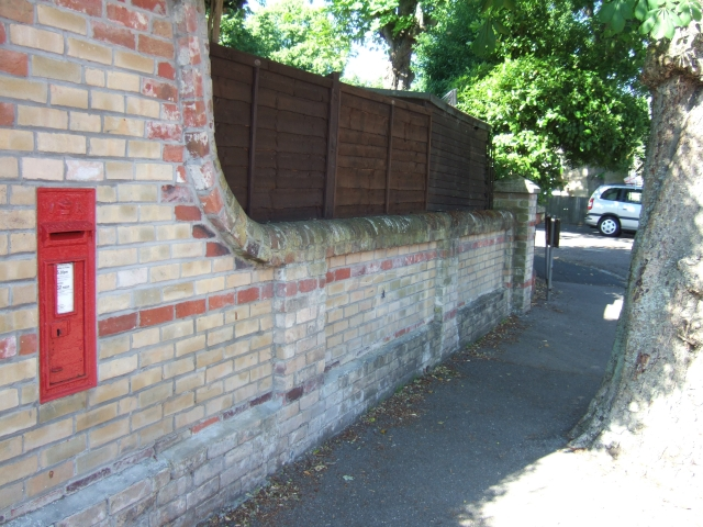 Wall and Victorian postbox in Hanover Road, Weymouth