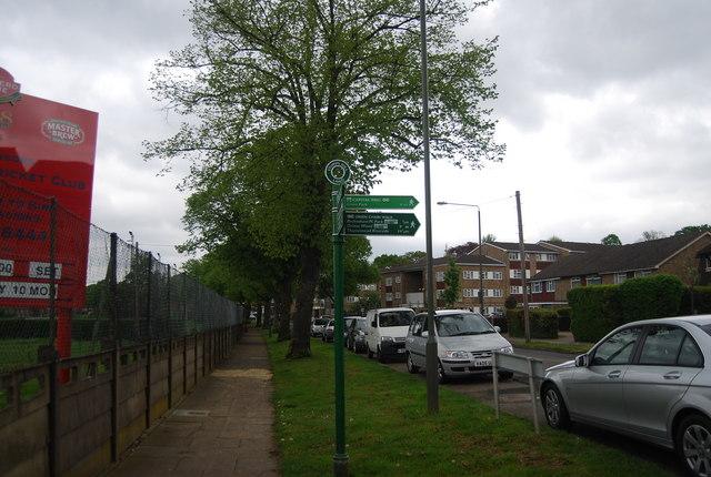 Green Chain Walk signpost, Worseley Bridge Rd