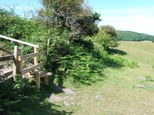 Stile below viewpoint on B3351 near Kingswood Farm