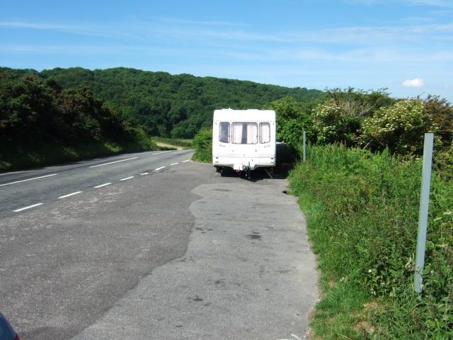 Caravan in lay-by beside B3351