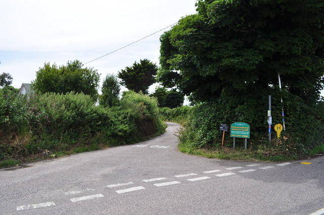 Sandy Lane leading away from Mortehoe Station Road near Borough Cross