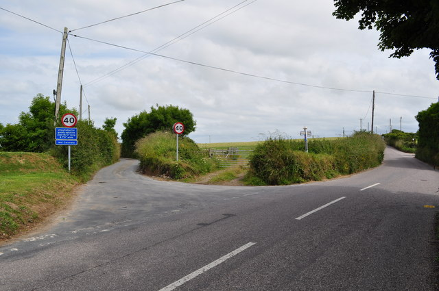 Warcombe Lane leading away from Mortehoe Station Road at Borough Cross