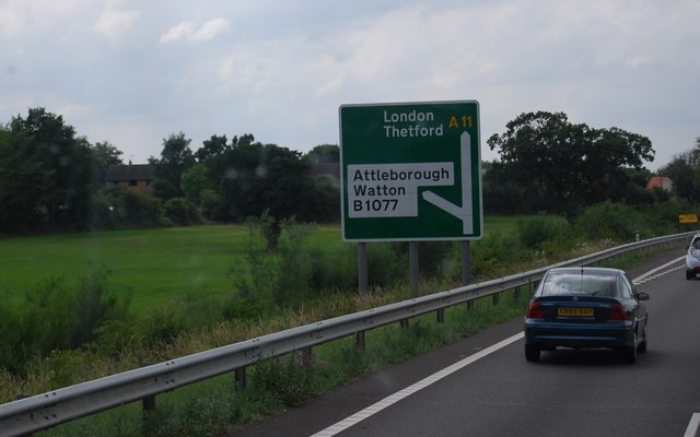 Road sign on the A11 near Attleborough