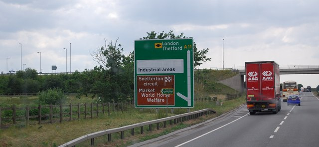 Roadsign by the Snetterton turn off, A11