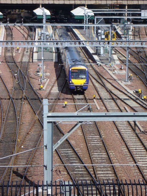 Scotrail train departing Waverley Station